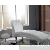 Divani Casa Monte Carlo White Leather Chaise with Crystals