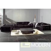 A&X AX001 Modern Black Leather Sofa Set