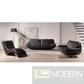 Divani Casa Boco - Modern Black Leather Sofa Set