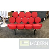 Mid Century Modern Red Italian Leather Marshmallow Couch