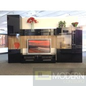 Modern Black high gloss lacquer finish wall Unit  TV Wall Unit. MCVAJD