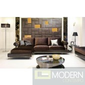 Divani Casa Brown Floss Fabric Sectional Sofa