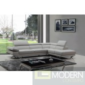Divani Casa Quebec Modern Light Grey Leather Sectional Sofa