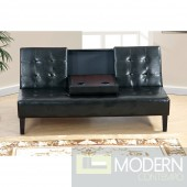 Modern Black Faux Leather Drop Down console Adjustable Futon Sofa. MCGSL7209. Free 24 to 72 hours inside delivery DC,MD,VA