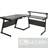 L Desk, Black w/ Smokey Grey Glass