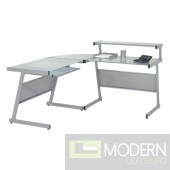 L Desk, Aluminum w/ Frosted Glass