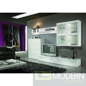 Modern White  Entertainment Center Media Wall Unit