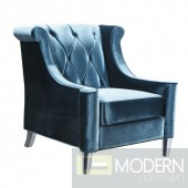 Baronette Chair in Blue Velvet with Crystal Buttons