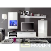 Modern White high gloss lacquer finish TV Wall Unit . Made in Italy.