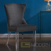 EVROS Modern and Contemporary Dining Chair in Charcoal Fabric with Nailheads and Acrylic Legs