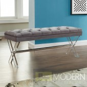 Jolie Ottoman Bench in Gray Tufted Velvet with Crystal Buttons and Acrylic Legs