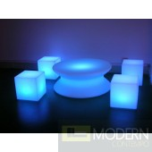 Illuminated Lighted Furniture LED Round Table with Color Change Remote