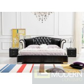 Modern Contemporary  Black Italian leather King  Size Bed