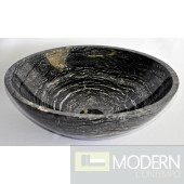 Lunar Marble Stone Vessel with White Veining