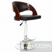 Modern Saddle Adjustable Walnut Wood & Black Bar Stool