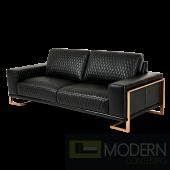 Mia Bella Gianna Leather Standard Sofa in Black RoseGold