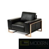 Mia Bella Gianna Leather Standard Chair in Black RoseGold
