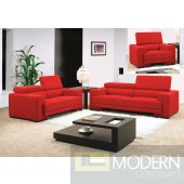 0909 - Red Fabric Sofa Set with Adjustable Headrests