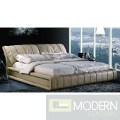Yeolani Home Modern Contemporary Beige Half Leather Platform Bed-Fara