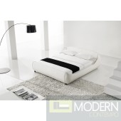 YEOLANI HOME Modern Contemporary Leather White Platform Bed CHAR