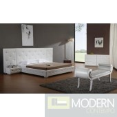 Modrest Melody - White Modern Leather Platform Bed with Two Nightstands