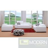 Miami - White Fabric Sofa Set