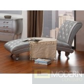 Divani Casa Monte Carlo Platinum Leather Chaise with Crystals
