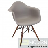Neo Flair Arm Chair Cappuccino with Espresso Wooden Legs