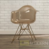 Neo Flair Arm Chair Amber with Copper Legs