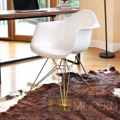 Neo Flair Arm Chair White with Copper Legs