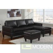 Black  Faux Leather sectional with ottoman MCGSL7297. Free 24 to 72 hours Inside delivery