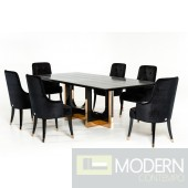A&X Pavia Modern Large Black Crocodile & Rosegold Dining Table