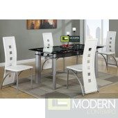 Modern 5 Piece Glass Table Dining Set, Glass Table & Metal/  Red Leather Chairs. MCGSD2212WHITE   Free 24 to 48hrs Inside Delivery in DMV metro area.