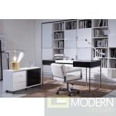 Modrest Ezra - Black Veneer Office Desk with Side Cabinet