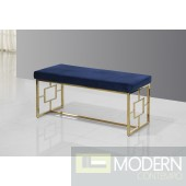 Varese Blue and Gold Stainless Steel Bench