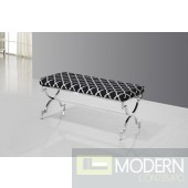 Savafieh Black and Silver Stainless Steel Bench