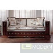 San Marco Dark Walnut Divan with White Cushions