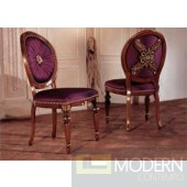 San Marco Dark Walnut & Purple Silk Fabric Side Chair