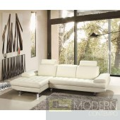 Savannah - Modern Full Leather Sectional Sofa with Headrests