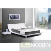 Modrest Story White Platform Bed & 2 Nightstands