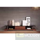 Modrest Weston - Modern Glass & Walnut Veneer TV Entertainment Center