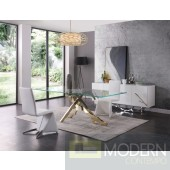 Modrest Essa Modern Glass & Gold Dining Table