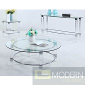 Chiaro Table Set with Metal / Acrylic Chrome Base