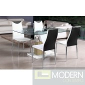 Modern  Oak/White Lacquer with Chrome Glass Top  Dining Table-MCBMU802