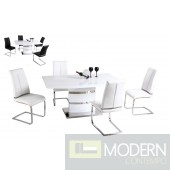 Modern White Lacquer with Chrome Glass Accent base Dining Table-MCBMU803