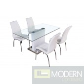 Modern White Lacquer with Chrome Glass Top  Dining Table-MCBMUDT386