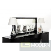 Baccarat - Transitional Black Crocodile Lacquer Mirror
