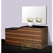 Modrest Portofino Contemporary Walnut and Black Curved Dresser