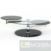 MODERN SWIVEL GLASS COFFEE TABLE
