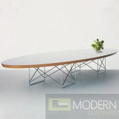 Wire Wood Coffee Table, White